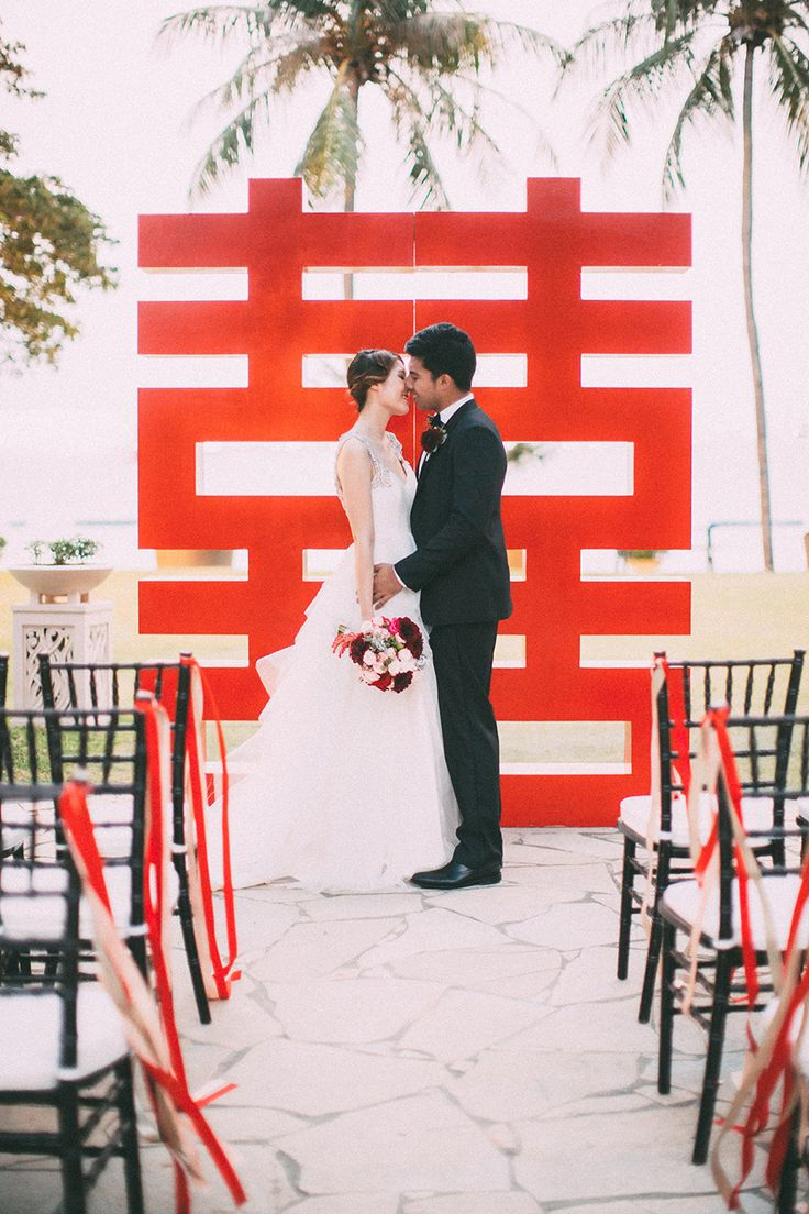 """Red """"double happiness"""" wedding backdrop // The Wedding Scoop's Top 10 Florals and Decor of 2015"""