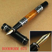 Livraison gratuite nouvelle BOOKWORM 675 stylo plume M Nib fleur ambre baril argent Clip et Trim luxe outil d'écriture papeterie(China (Mainland))
