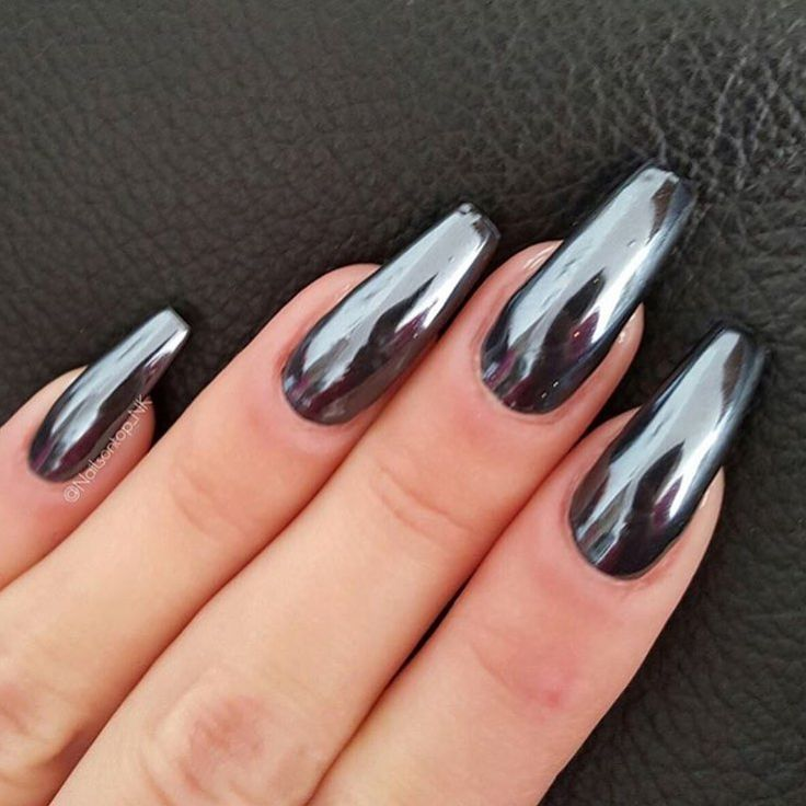 Powder Nail Polish Near Me: How Amazing Are These Black Chrome Nails By @nailsontop_nk