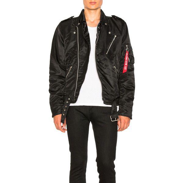 ALPHA INDUSTRIES Outlaw Biker Jacket ($250) ❤ liked on Polyvore featuring men's fashion, men's clothing, men's outerwear, men's jackets, coats & jackets, mens padded jacket, mens zip jacket, mens short sleeve jacket and mens zipper jacket