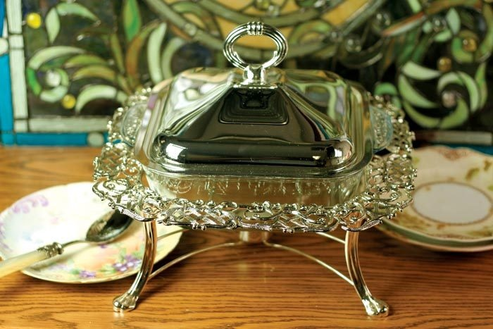 Filigree chafing dish from Victorian Trading Co.