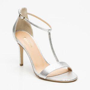 Sandali, pelle di capra, color argento   tacco: 9 cm
