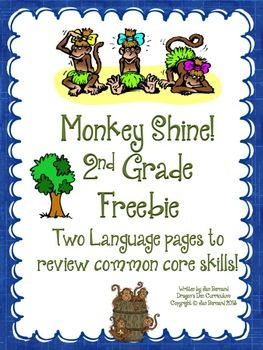 """FREE! Go just a little bit bananas with this second grade freebie! This resource includes two student pages that cover two language standards. The resource is taken from a larger product called """"Going Ape over Second Grade Language Arts Common Core!"""""""