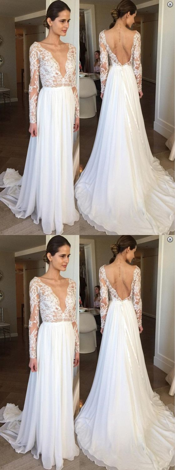 A-Line Sexy Deep V-Neck Backless Chiffon Lace Sleeves Beach Wedding Dress with train, WD0404