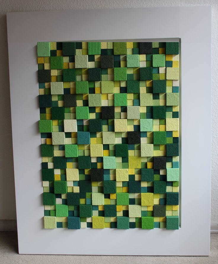 """""""colores 60 verde"""" construccion de cubos de madera de diferentes tamaños sobre marco de madera 105cm por 85 cm."""""""