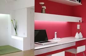 Apartment, Inspiring Design Interior For Red And White Nobby Desk Laptop  Also Player Remote For Small Mod Apartment Design Also Mod And Unique White  Study ...