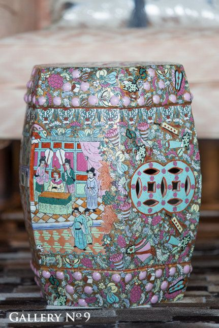 Antique Hand Painted Chinese Porcelain Garden By