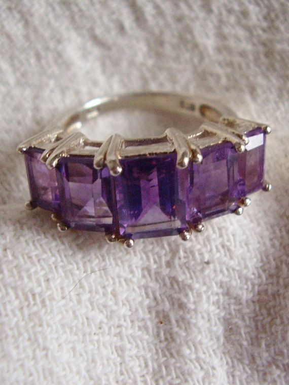 925 Emerald-cut Amethyst Ring 5 Square by Vintage0Sparklers