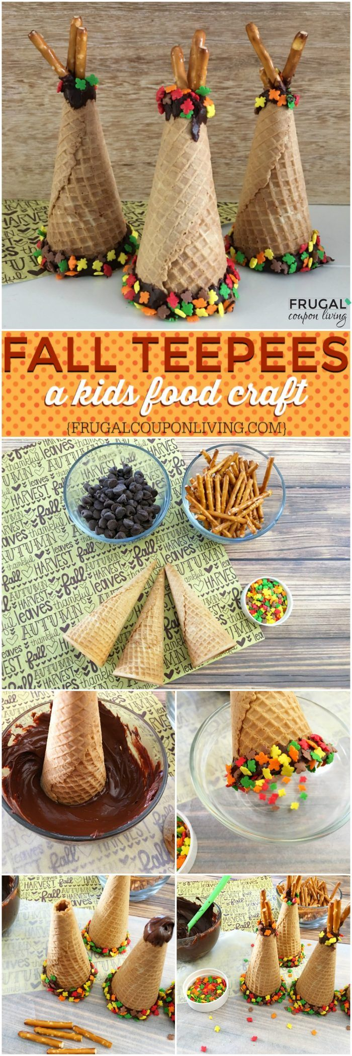 Fall Ice Cream Cone Teepees on Frugal Coupon Living. A fall kids food craft. We love this on the Kid's Thanksgiving Table but it also is fun in school when studying Native Americans. Fall Food Craft for Kids. #teepee #kids #thanksgiving #craft