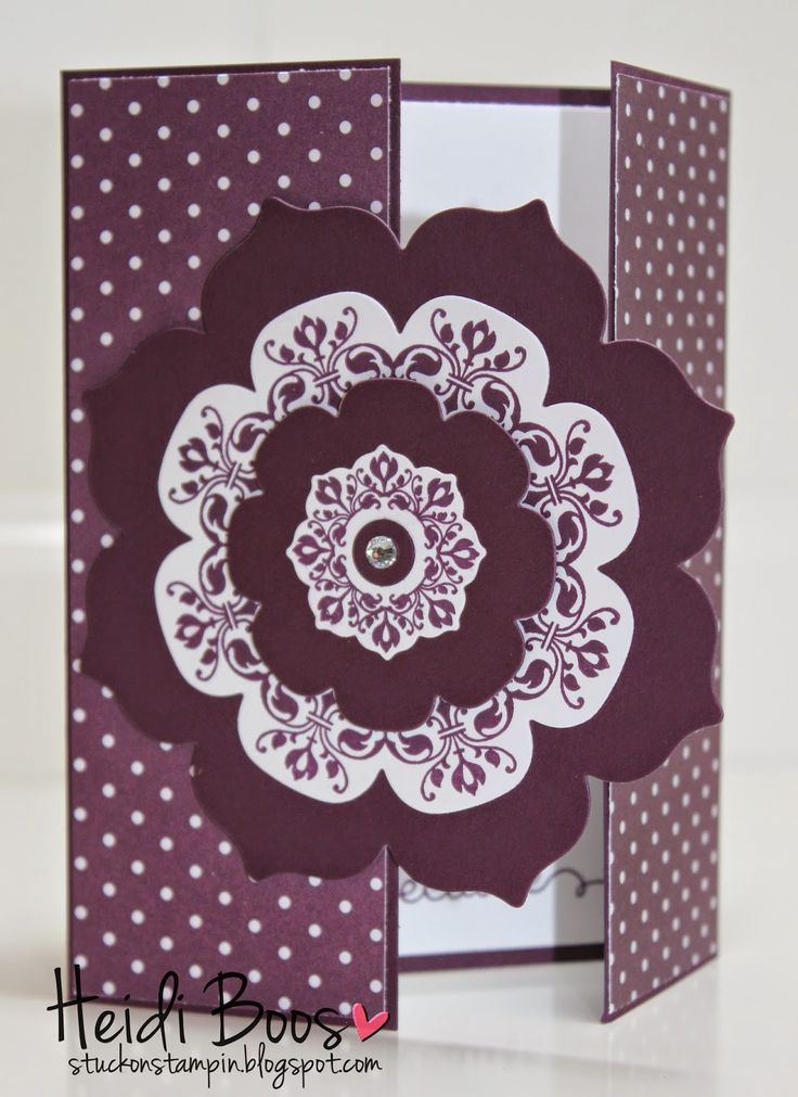 Stampin' Up! handmade card from Stuck on Stampin' ... monochromatic Blackberry Bliss ... Daydream Medallions stamping with Floral Framelits  makes for a wonderful medallion ... gatefold format ... like the polka dot paper panels ... like it!