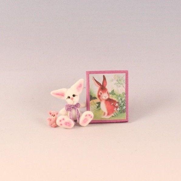OOAK~Bunny Rabbit~Teddy~Easter Book~Mini~Dollhouse Toy~Artist Doll~Cheryl Brown  #CherylBrown