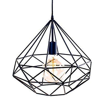 Suspension Azalée métal Noir LIGNES DROITES + AMPOULE Filament - Scandinave Moderniste industriel Plafonnier lampe Lustre