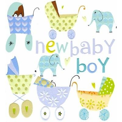 New baby boy card illustrated with blue pram and elephants and letter-press detail.  Priced at £2.15