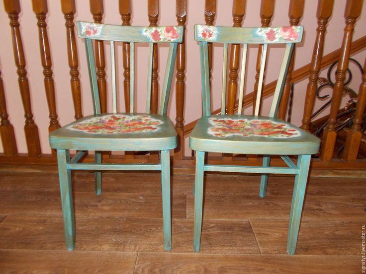 Купить Венские стулья - морская волна, веские стулья, реставрация стульев, декупаж работы, интерьер
