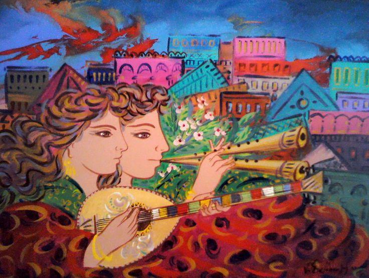 Σταθόπουλος Γεώργιος-Ζευγάρι με μουσικά όργανα