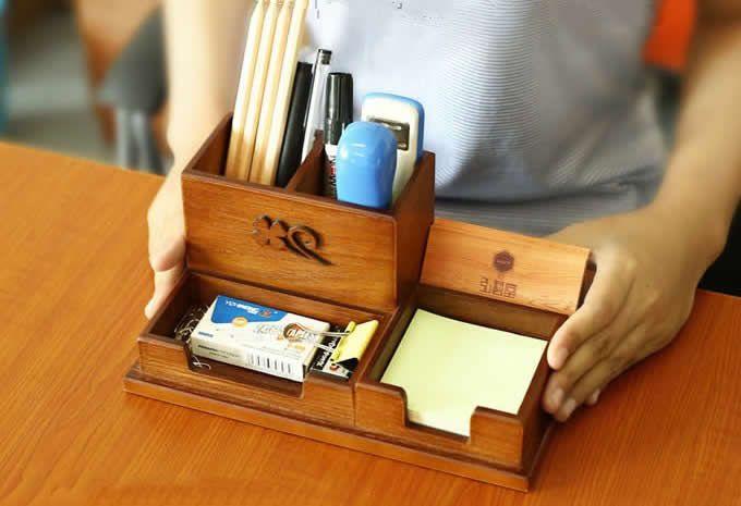 Wooden Desk Accessory Storage Organizer Pen Holder Memo Pad Holder Business Card Holder Wooden Desk Organizer Desk Organizer Set Wooden Desk
