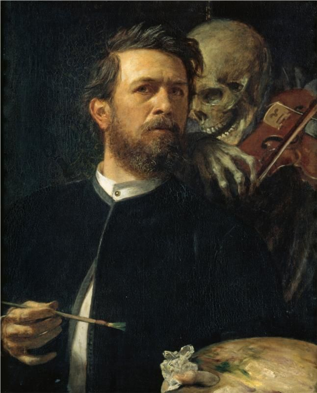 With Death as a Fiddler    Artist: Arnold Böcklin    Completion Date: 1872    Style: Symbolism    Genre: self-portrait    Technique: oil    Material: canvas    Dimensions: 75 x 61 cm    Gallery: Alte Nationalgalerie, Berlin, Germany