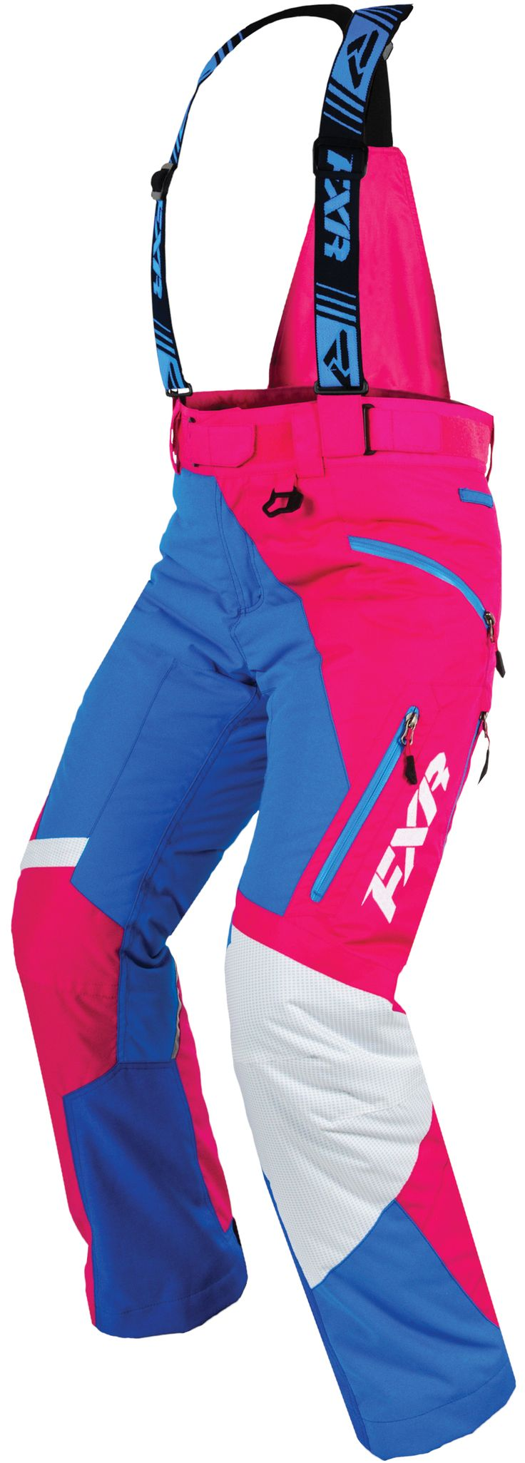 Fxr racing 2015 snowmobile apparel women s vertical pro pant fuchsia blue
