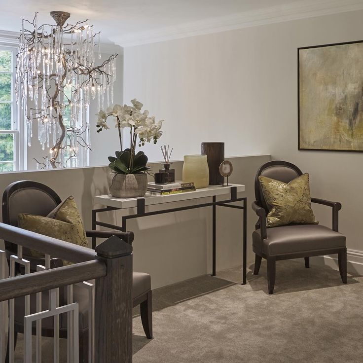 """""""Even the landing in the cobham project is beautiful. Such a lovely view of the chandelier #entrancehall #chandelier #interiors #interiordesign #inspo…"""""""