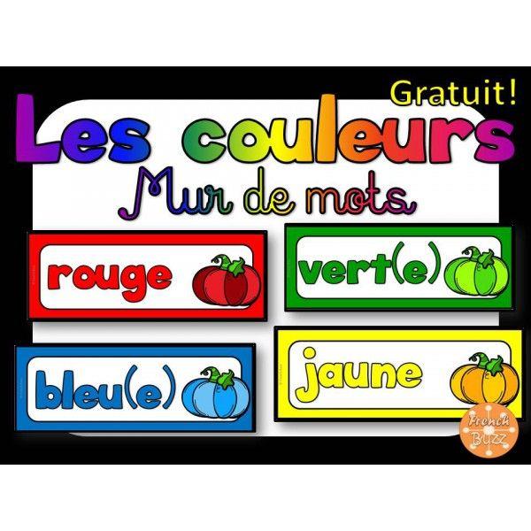 Les couleurs - mur de mots - GRATUIT!
