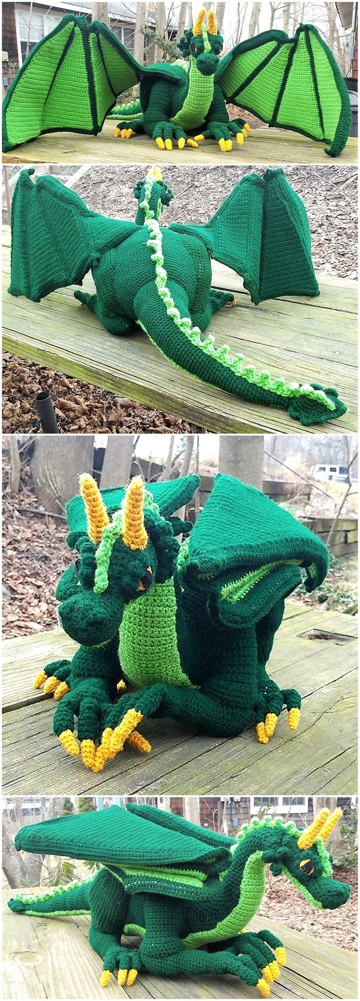 Now come to a huge crocheted Amigurumi, the creator had surely spent many days making it and it is looking amazing. The color combination of the dragon is perfect; it is a good idea to go for if the person wants something unique to decorate the kid's room.