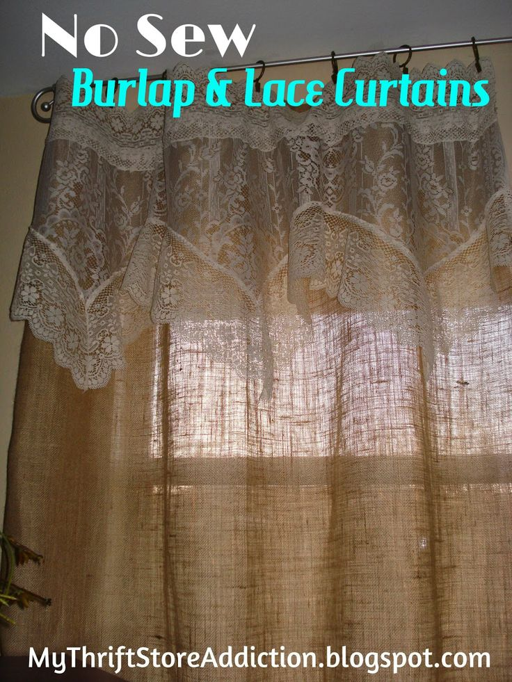 Refresh your home no sew burlap and lace curtains for Burlap christmas curtains