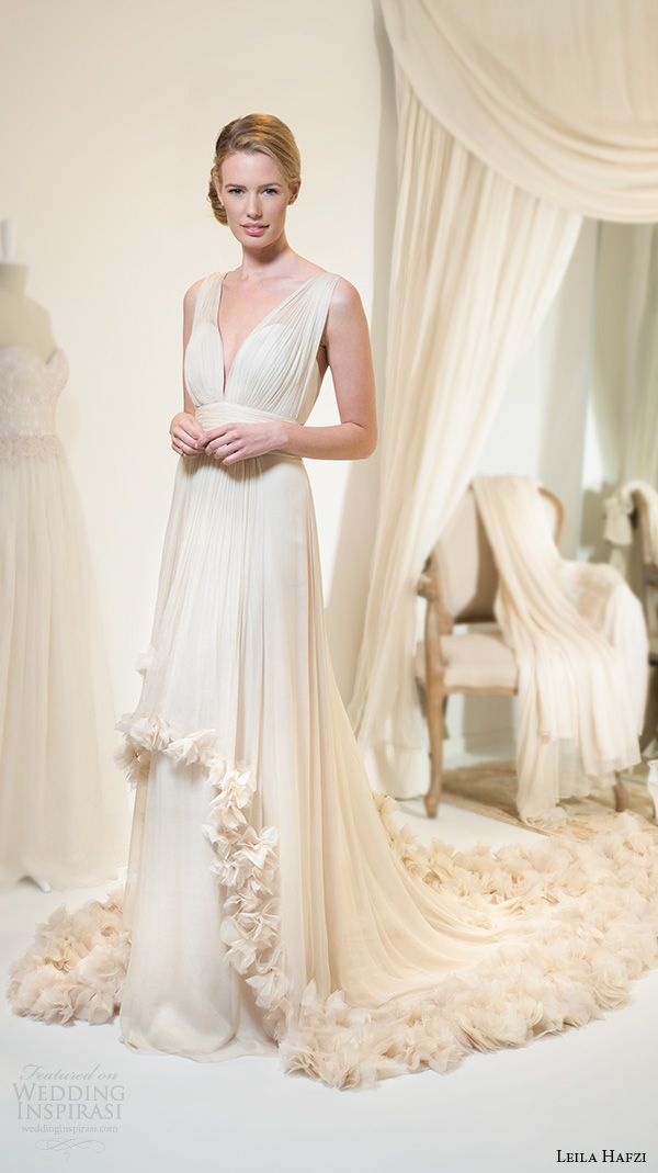 """Leila Hafzi 2016 Wedding Dresses — Royaye Sefid VI """"Asha"""" Bridal Collection   Wedding Inspirasi   """"Katerina"""" -- Sleeveless, Champagne Colored Grecian Style Empire Waist Wedding Gown With Plunging V Neckline, Layered Skirt With Hand Crafted Chiffon Florets Along Both Hemlines & Down The Chapel Length Train......................................................"""