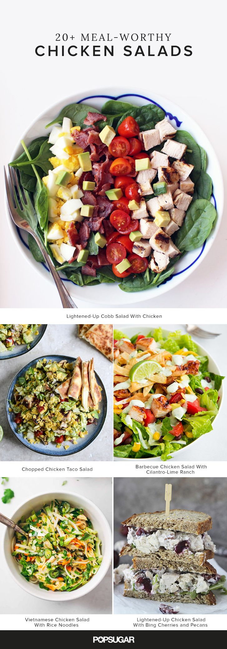 Here, we've rounded up 24 recipes that make chicken salad and exciting lunch option, ranging from Asian-inspired entrees to chicken salad (as in chicken bound with mayonnaise or Greek yogurt) to barbecue chicken Cobb salad.