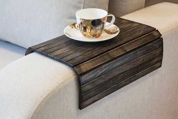 Sofa Tray Table black TV tray Wooden Coffee table Lap by LipLap