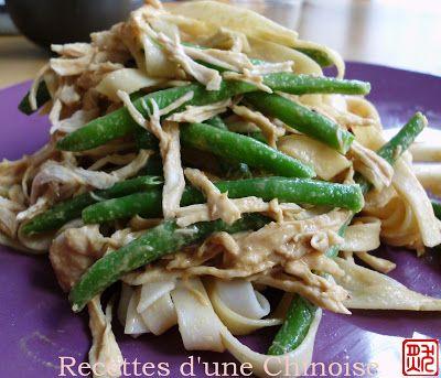 Recettes d'une Chinoise: Nouilles froides au poulet, sauce au sésame