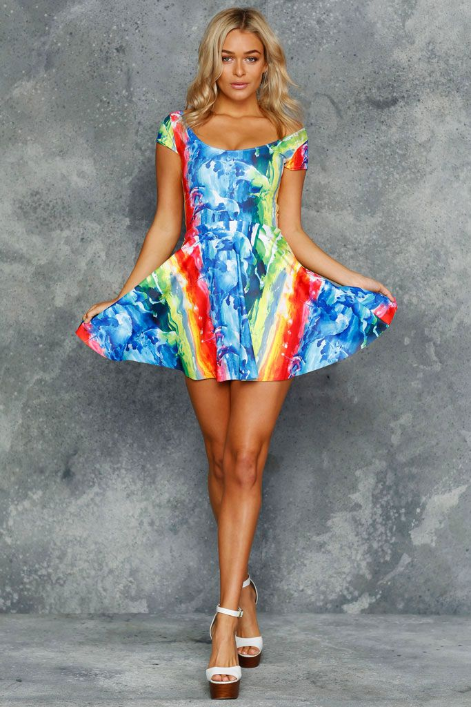 Northern Lights Cap Sleeve Skater Dress - 48HR (AU $100AUD) by BlackMilk Clothing
