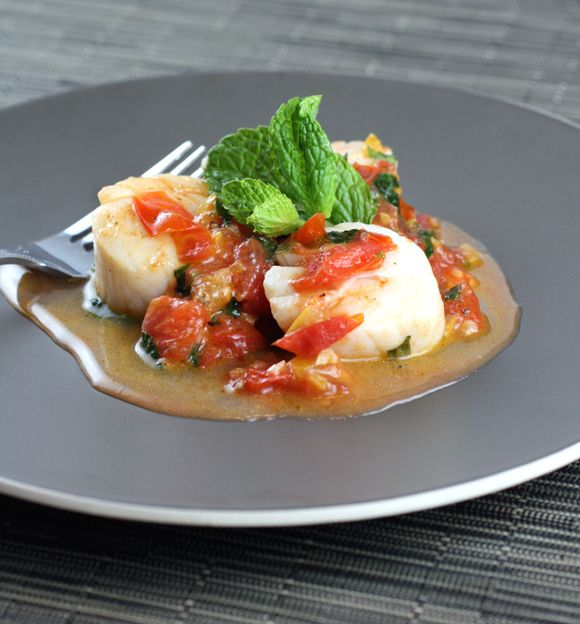 Sauteed Scallops with Tomatoes and Preserved Lemon - Cook This Now by Melissa Clark via Carolyn Jung/Food Gal