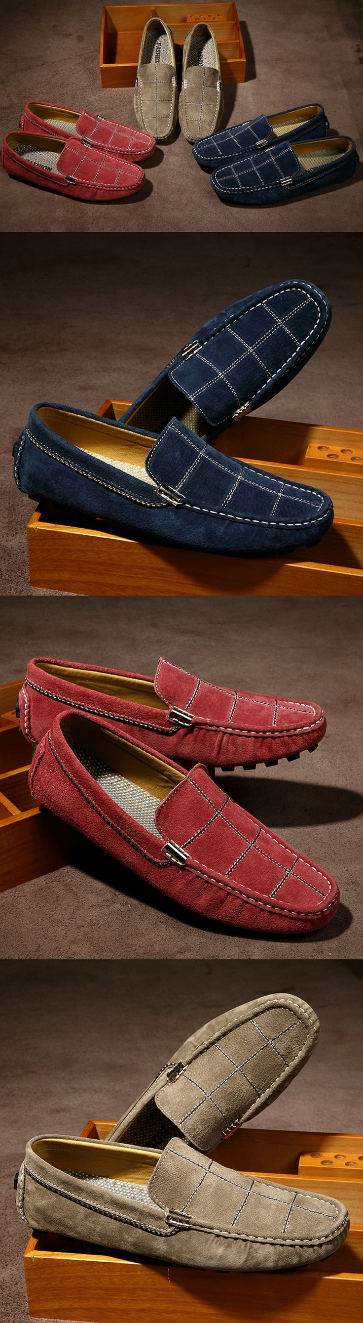 US $25 Luxury Men Suede Loafers Slip-on Gentlemen Moccasins Soft Flat Driving Loafers Boat Shoes Letters Red Blue Khaki