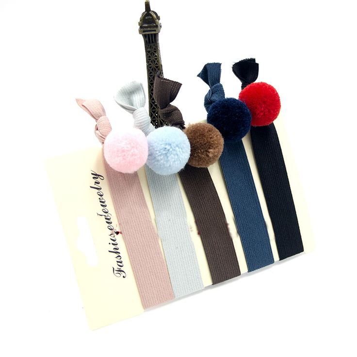 Fashion Girls Cute Colorful little Pom Pom Ball Knot Hair Ties Set Rubber Band 5pcs/set Stretch Hair Holder Hair Accessories