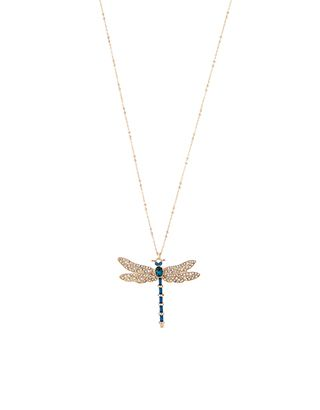 Jewelled Dragonfly Long Pendant | Blue | Accessorize