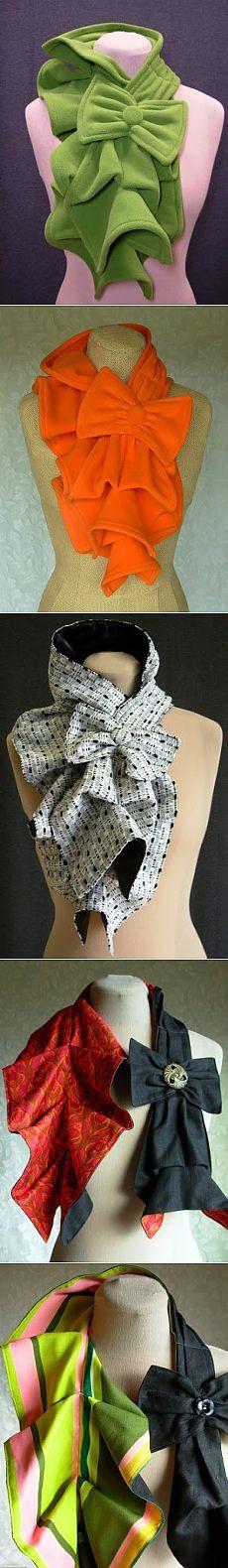 Шьём необычный шарф /Для того чтобы пошить такой шарф-жабо вам необходим отрез ткани 115-120 см длиной и 20 -25 см шириной, плюс отрез 20 на 10 см для бантика, пуговица подходящего размера и цвета,далее описание....