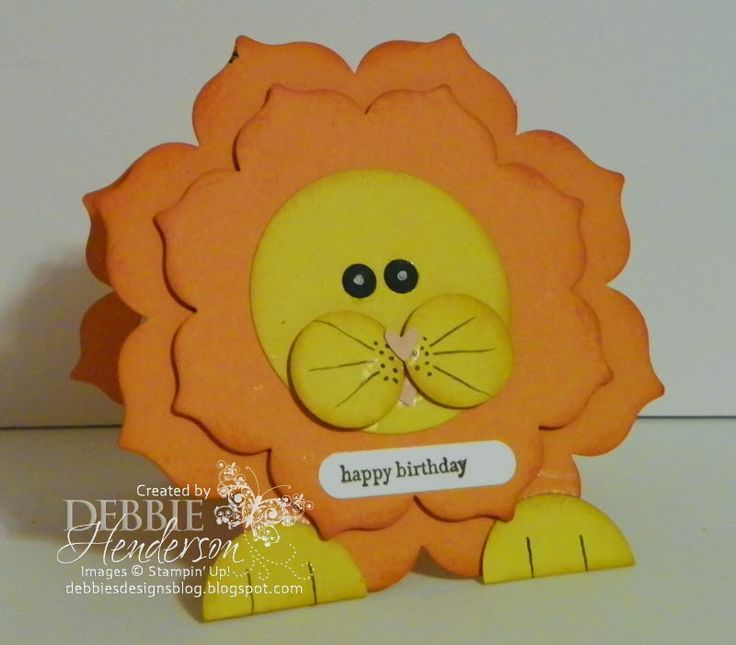 Stampin' Up! ... handmade birthday card from Debbie's Designs ... adorable die cut and punch art lion ... floral framelits used for card base and lion's may ... way tooo cute!!
