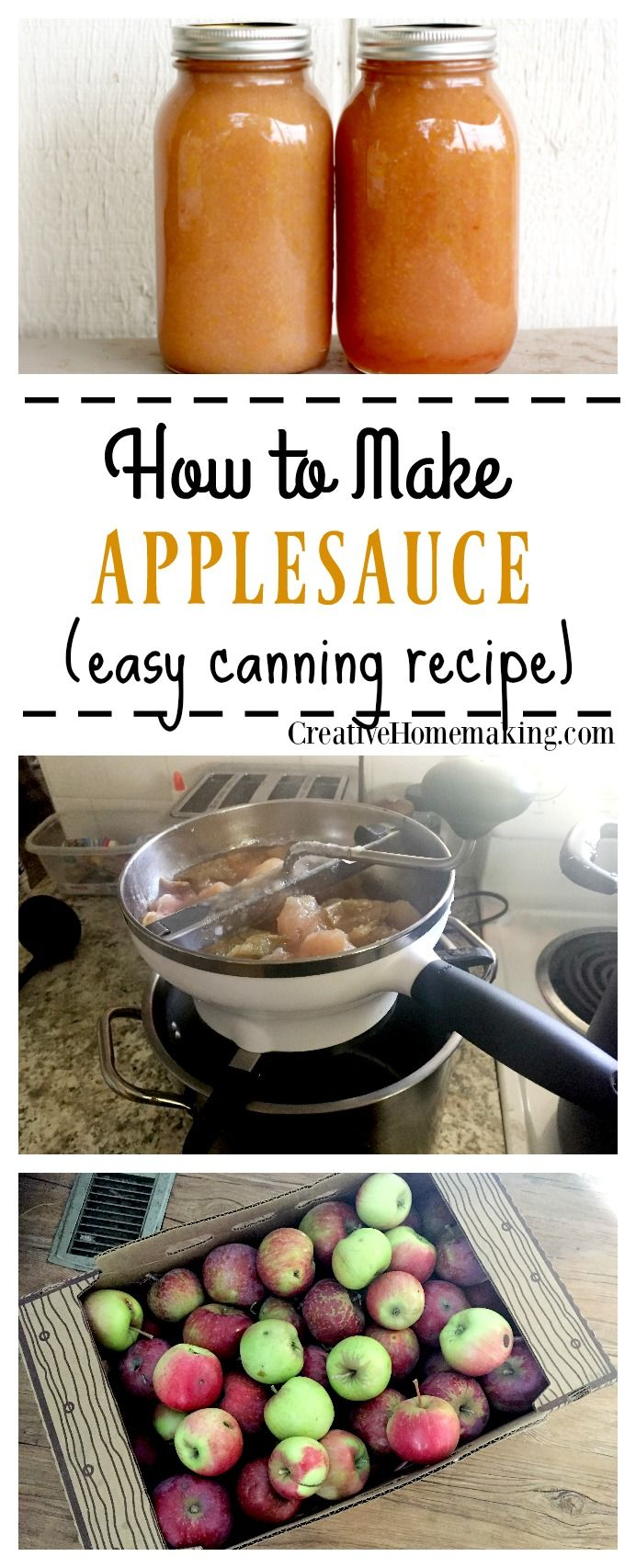 How to make and can homemade applesauce from apples picked straight from the tree.