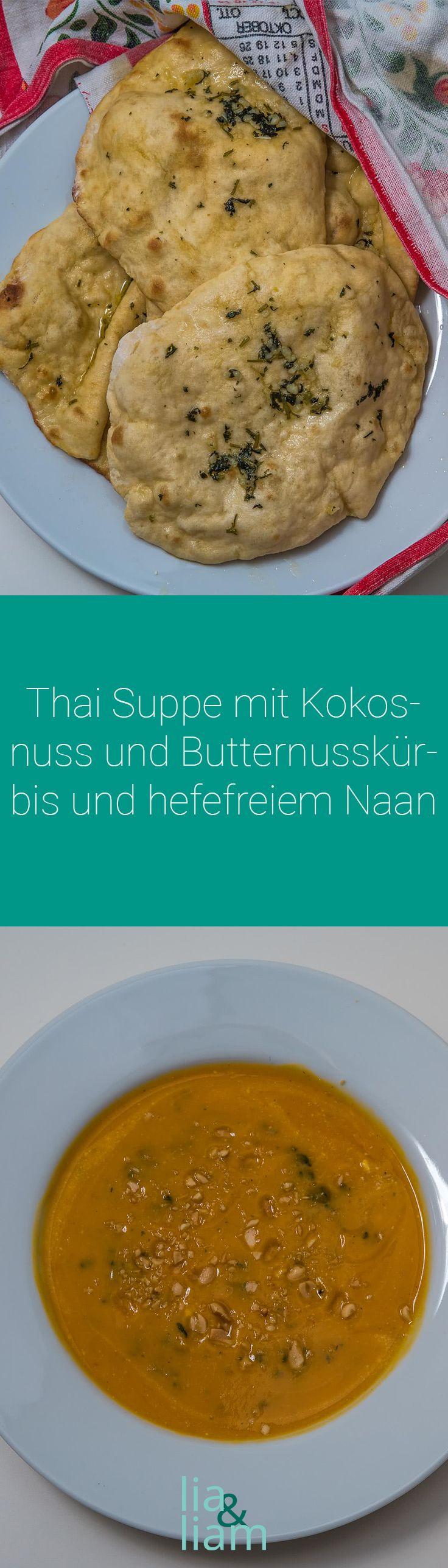 Thai Suppe mit Kokosnuss und Butternusskürbis und hefefreiem Naan Rezept - Gesunde asiatische Suppe für kalte Tage  Diese Thai Suppe kombiniert zwei unserer vorherigen Suppen: Man nehme den Kürbis der Kürbissuppe mit Kartoffeln und Karotten und den asiatischen Geschmack der Laksa Suppe mit Reisnudeln. Dabei entsteht eine füllende Suppe, die garantiert den ganzen Abend satt hält.