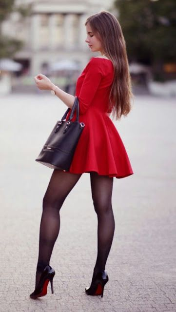 db6f7354c25 Pretty red red dress with black tights - women fashion