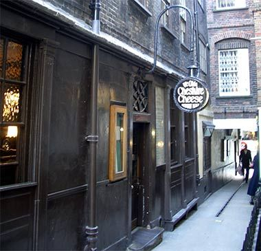 Ye Olde Cheshire Cheese is one of the oldest pubs in the City of London and was frequented by Dickens.