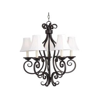 @Overstock - Manor 5-light Chandelier with Shades - This beautiful light features a stunning bronze finish with durable iron construction. The fixture is enhanced with a stylish wheat shade.  http://www.overstock.com/Home-Garden/Manor-5-light-Chandelier-with-Shades/9819138/product.html?CID=214117 $370.00