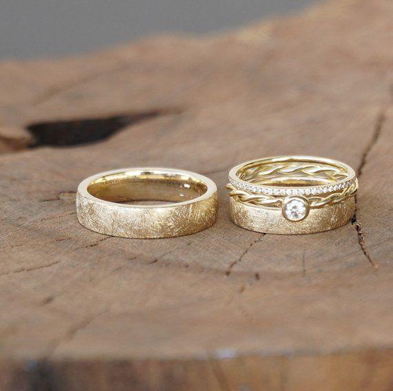Wedding Rings Frozen Gold combination