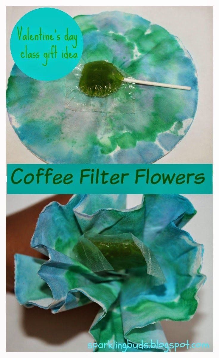Coffee filter flowers. Simple to make as a classroom gift!