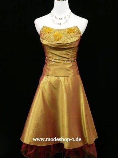 Cocktailkleid in Gold mit Corsage