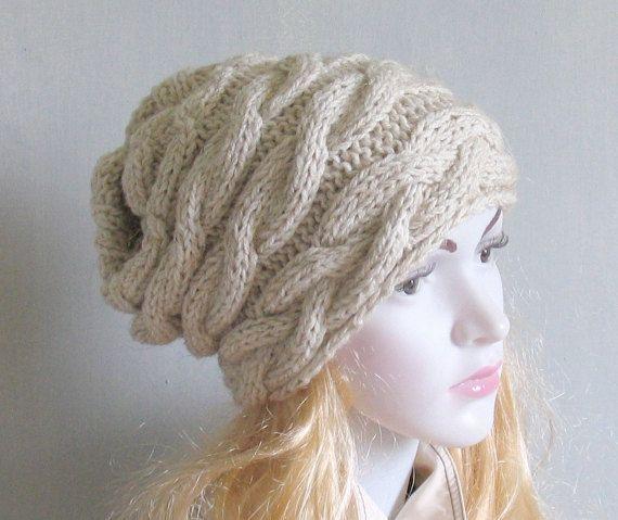 Slouchy Beanie Hat Handmade Hat Warm Hat Beanie Hand Knit Hat