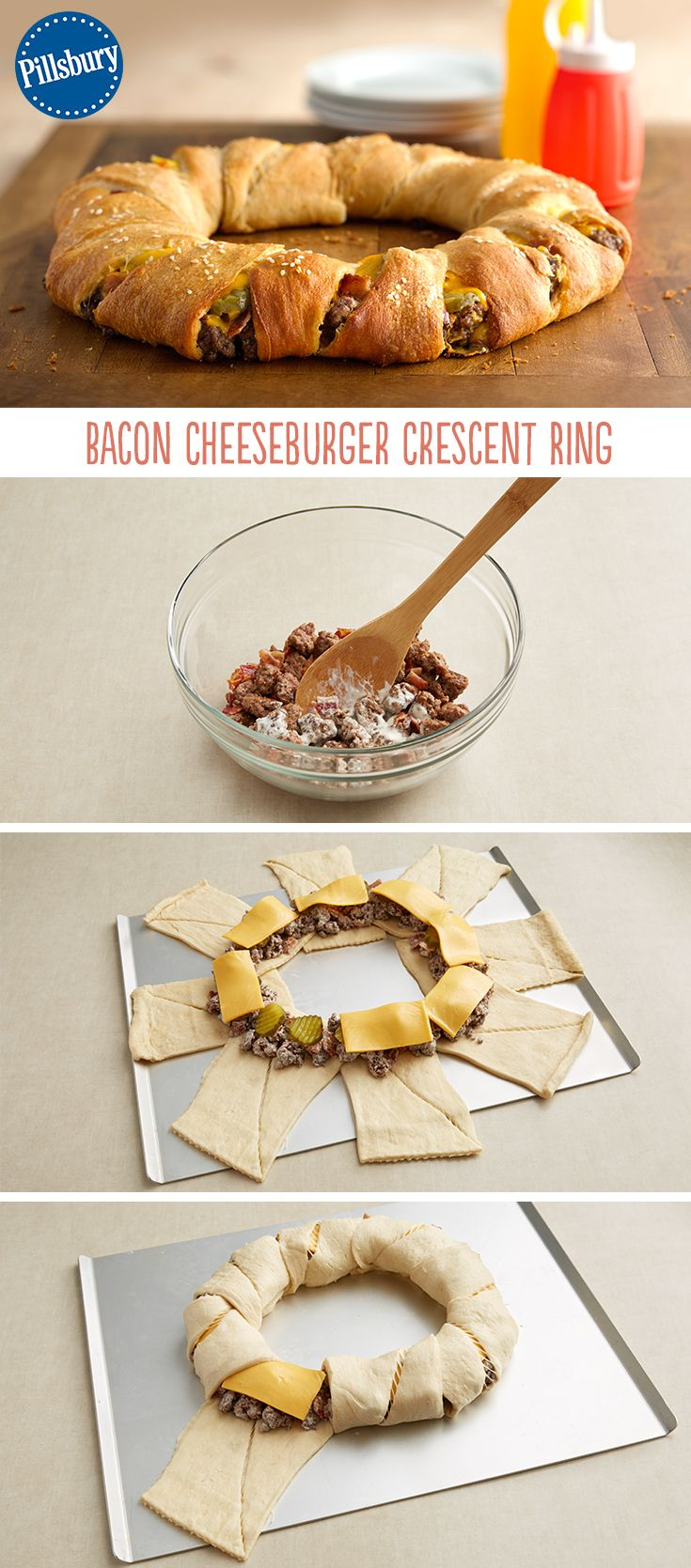 Hello weeknight dinner! Fill up your kids with a fun take on the classic hamburger. This Bacon Cheeseburger Crescent Ring is super easy to make and is delicious to boot.