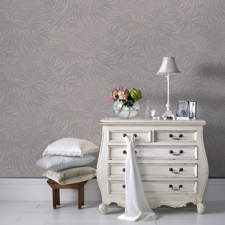 Tropic Wallpaper in Beige and Silver from the Pure Collection by Graham & Brown