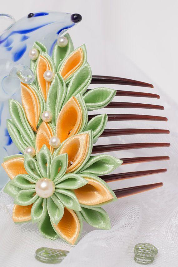 FREE SHIPPING Green-yellow flower hair comb kanzashi by StudioBeRi