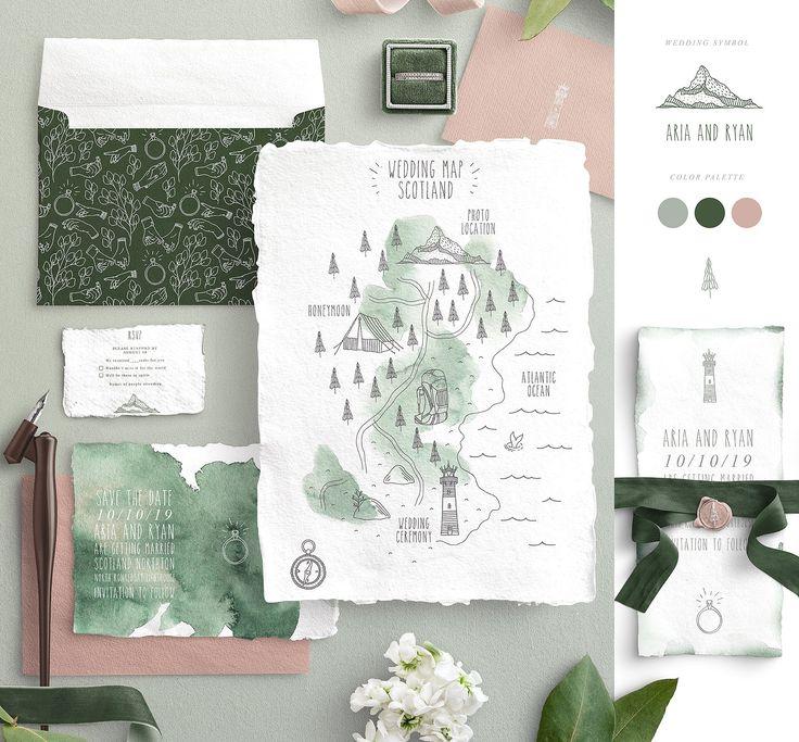 Wedding Map Creator #hands#elements#florals#conven…